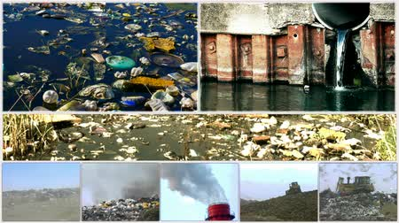 contaminação : Pollution of the environment-split screen ;Different forms of pollution of nature and the environment,edited video clips in split screen