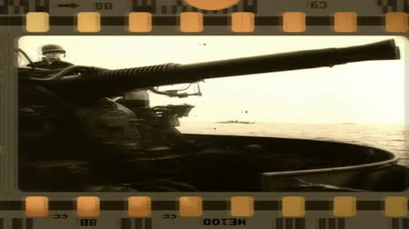 war tank : Old film from World War II  Processed archival footage from World War II with the mask film strips