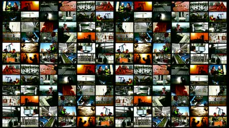 ipari : Industry and production occupations- split screen ; Workers and industrial production- split screen ; Various types of industrial production, construction sites, workers of different professions,video clips editing in a split screen