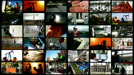 üretim : Industry and workers ; Various types of industrial production, construction sites, workers of different professions,video clips editing in a split screen Stok Video