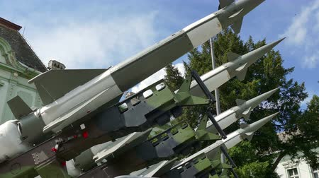 anti war : Missiles for defense against attacks from the air ; Launching ramp with military missile systems to defend against attacks from the air.Rocket systems Nevaproduced in Russia.