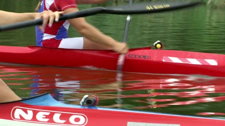 sérvia : National team in rowing , Zabalj,Serbia, 08.03.2016.National team rowers in a kayak on the preparations for the Summer Games 2016. Video clip