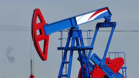 petrokimya : Pumping crude oil ; Working oil pump in the oil field