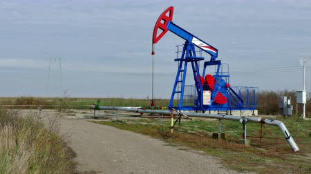 petrokimya : Oil pump in operation ; Working oil pump in the oil field Stok Video