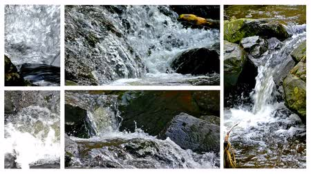 Power of nature is a mountain river - split screen ; Several different video a beautiful mountain river with waterfalls unified into one multi screen