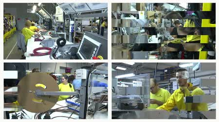 laboring : Zrenjanin ; Serbia ;12182017.Workers at a facility for the production of electrical cables in the car industry. Multi screen video editing