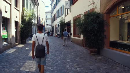 old times : walking on a street in a City Stock Footage