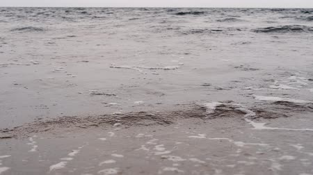 long waves at the beach of Sweden Stock Footage