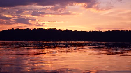 sunset over a swedish lake Stock Footage