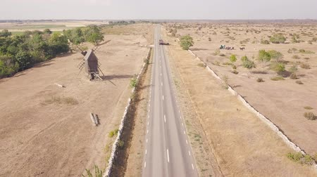 drone flight over a country road