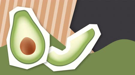 roto : an animation with a moving avocado Stock Footage