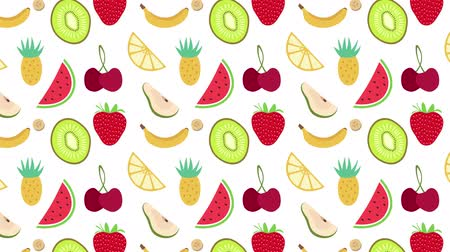desenhada à mão : a seamless fruit pattern animation Stock Footage