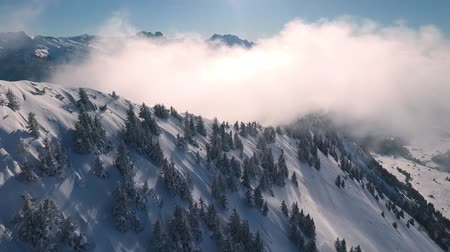karpaty : a drone flight in the Swiss mountains through the fog