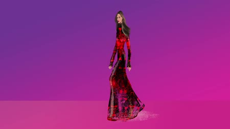 ruha : FASHION ILLUSTRATION STOCK FOOTAGE. ANIMATION OF A FASHION MODEL WALKING ON RUNWAY.