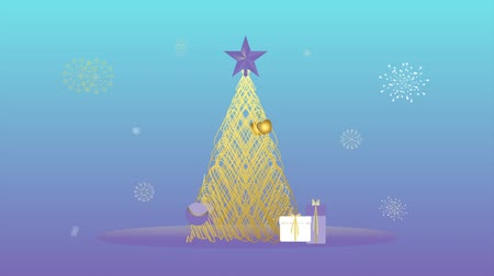 leylak : ANIMATED ILLUSTRATION OF CHRISTMAS TREE, PRESENTS, ORNAMENTS, STAR AND SNOWFLAKES. CHEERFUL DRAWING IN BLUE, LILAC AND YELLOW. Stok Video