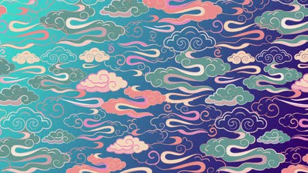 estilizado : ANIMATED ILLUSTRATION OF STYLIZED ASIAN CLOUDS RESEMBLING DRAGON TAIL.
