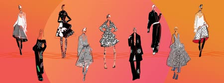 finale : ANIMATED ILLUSTRATION OF A FASHION SHOW. RUNWAY MODELS POSING ON STAGE, SHOWCASING DESIGNER COLLECTION OF DRESSY OUTFITS WITH ABSTRACT PRINTS IN RED, PURPLE, LILAC, ORANGE,