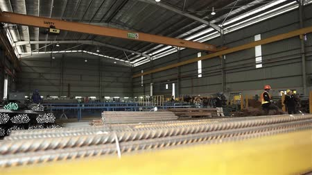 A Steel Bar Construction Factory - Slider - Left To Right Stock Footage