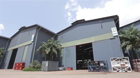 villa : Blue Grey Factory Warehouses - Pan - Left To Right