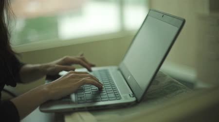 Girl Working On Laptop - Close Up - Slider - Moving Towards 2 Stock Footage