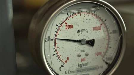 Pressure Guage Need Going Up And Down - Close Up Stock Footage