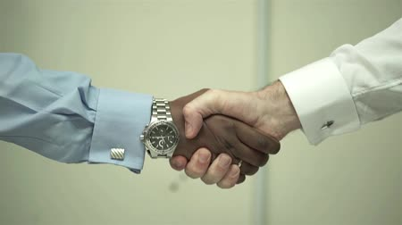 2 Men Shaking Hands - Indian And White - Close Up Stock mozgókép