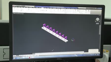 Black Computer LCD Screen Showing Autocad Engineering Design - Timelapse
