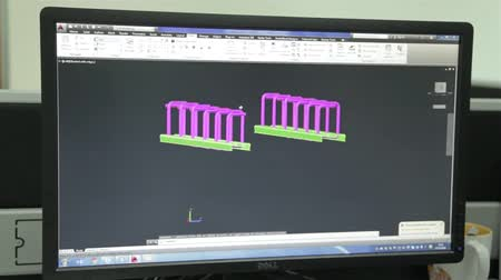 Black Computer LCD Screen Showing Autocad Engineering Design Stock Footage