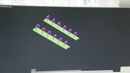 Close Up Of Just Computer Screen Showing Autocad Engineering Design - Timelapse