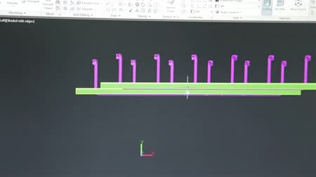 Close Up Of Just Computer Screen Showing Autocad Engineering Design II Stock Footage