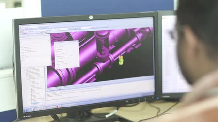 Computer Screen - Working On Autocad Stock mozgókép