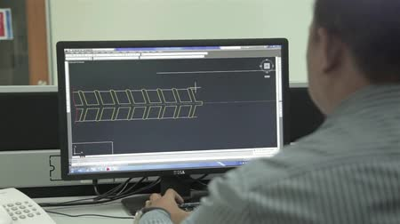 Man Working On Auto Cad Engineering Software - Slider - Left To Right Stock mozgókép