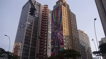 Kobra Graffiti On A Building In Sao Paulo - Brazil - 3 Shots Fast Pan And Slow Tilt