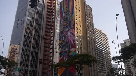 busking : Kobra Graffiti On A Building In Sao Paulo - Brazil - Tilt - Moving Down