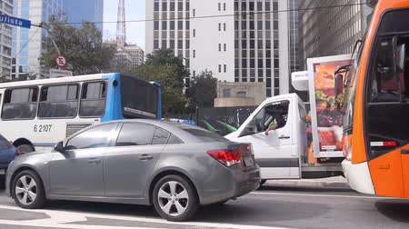 Sao Paulo - Buildings, Road And Cars From Moving Car - Side Angle