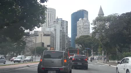 Sao Paulo - Buildings, Road And Cars From Moving Car -Front Angle Stock mozgókép