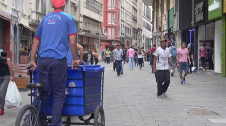 brasil : Two People In Blue Cycling Trolley In Down Town