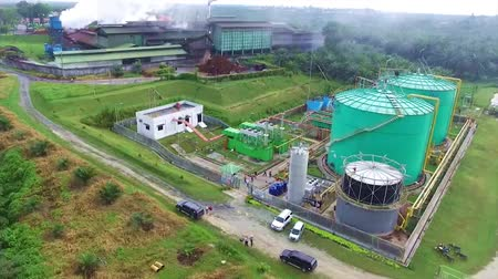 Top View of Palm Oil Plantation Factory - Aerial - Moving Upwards