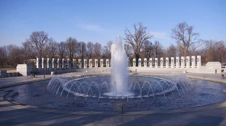 скрестив : Fountain Surrounded By Dry Trees In Park - Static