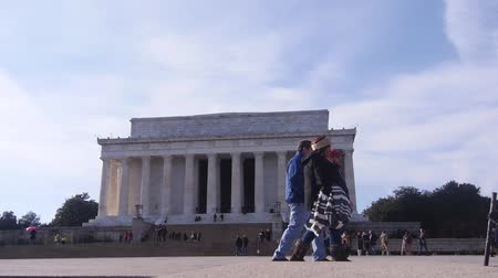 georgetown : People Walking In Front Of Monument - Static Stock Footage