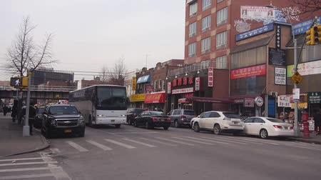 bronx : Cars And Bus On Road Near Zebra Crossing - Static