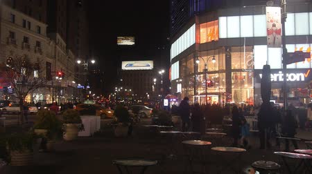 times : Square Near Buildings And Cars In Street - Pan - Right To Left