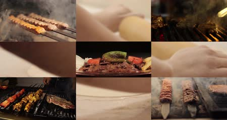 espetos : Turkish Food Montage 4K, kebab, doner, shish and meatball