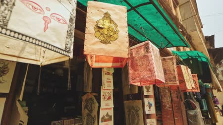 ganesha : Handcraft painted paper lanterns hang at street souvenir shop, Bhaktapur, Nepal Stock Footage