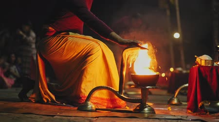 nepal : Hindu priest perform sacred pray rite with flame on Pashupatinath Aarti Puja