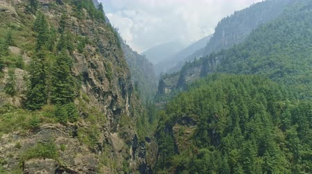 nepal : Marvelous narrow gorge between towering forested cliffs, Nepal