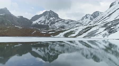 nepal : Snowy highland scenery reflects on smooth mirror water of Ice Lake, Nepal