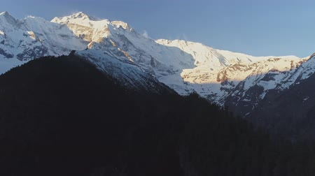 csúcs : Majestic inaccessible snowy Annapurna II mountain at sunset, Nepal