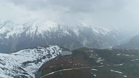 frozen lake : Stunning panorama, cloudy Annapurna mount, lakes on highland snow plateau, Nepal