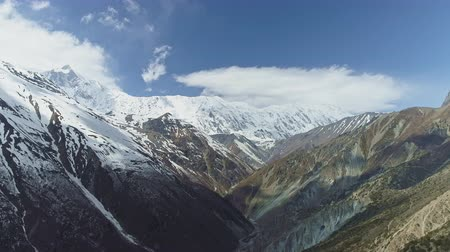 greatness : High altitude panorama, highland gorge, snow Grande Barrier, Tilicho Peak, Nepal